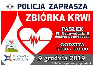Zbióórka krwi w Pasłęku 9 grudnia 2019