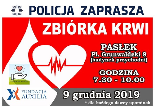 Zbiórka krwi w Pasłęku 9 grudnia 2019r. Zapraszamy!