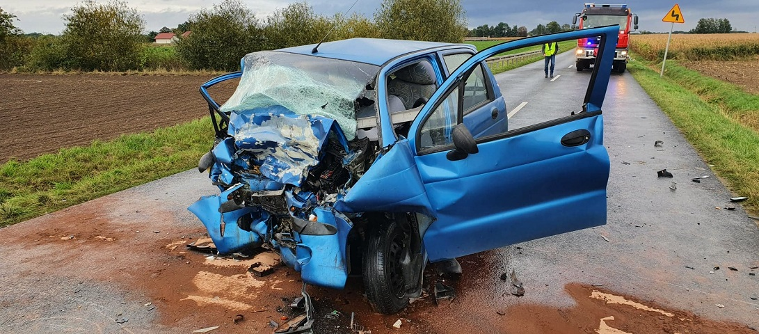 Wrak samochodu Iwony po wypadku